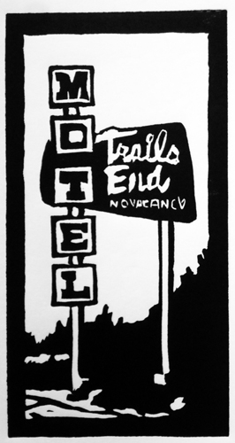 Trail's End Motel Colfax Avenue Denver Colorado Vintage Denver Art Linoleum Cuts