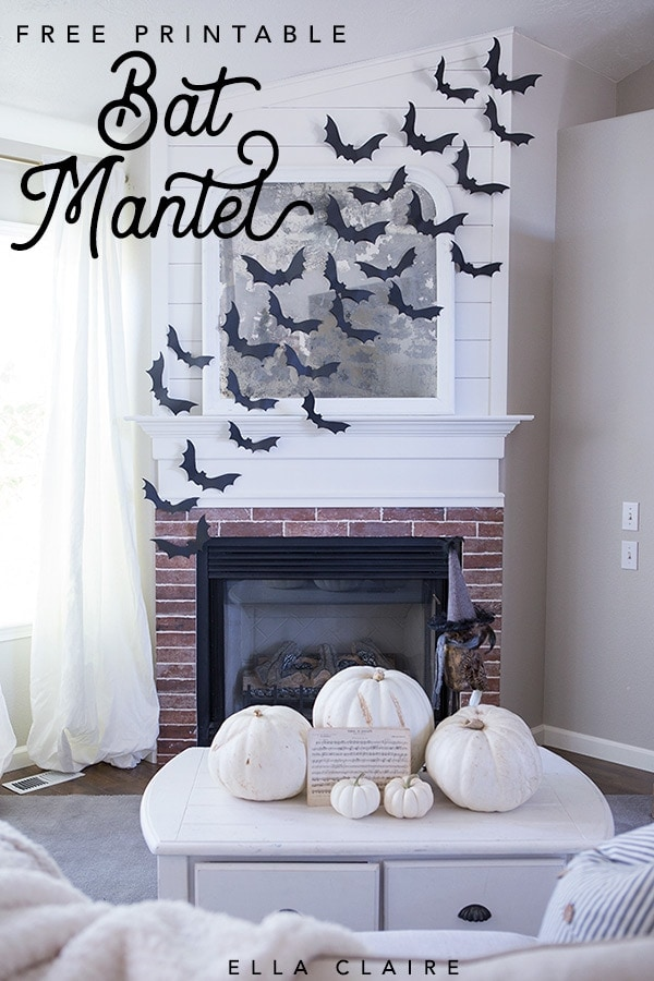 DIY Halloween Flying Bat Mantel Free Bat Template - Ella Claire
