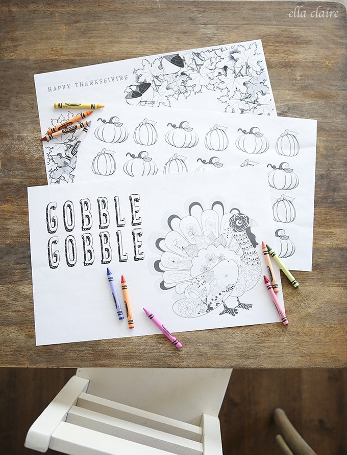 Thanksgiving Coloring Placemats Free Printable - Ella Claire