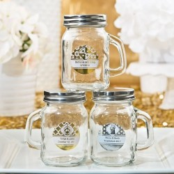 Thrifty Handle From Our Personalized Metallics Collection Personalized Mason Jars Glass Mason Jars Bridal Shower Personalized Mason Jars Birthday