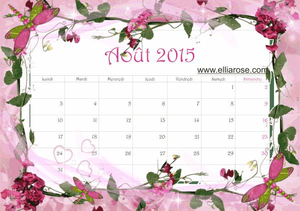 calendrier aout 2015 Ellia Rose rose