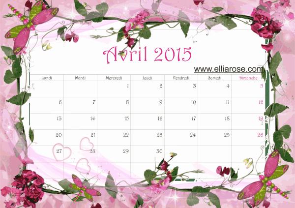 calendrier avril 2015 Ellia Rose rose