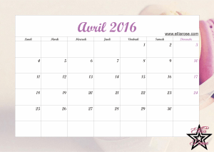 Calendrier Avril 2016 Ellia Rose