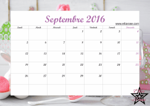 Calendrier Septembre 2016 Ellia Rose
