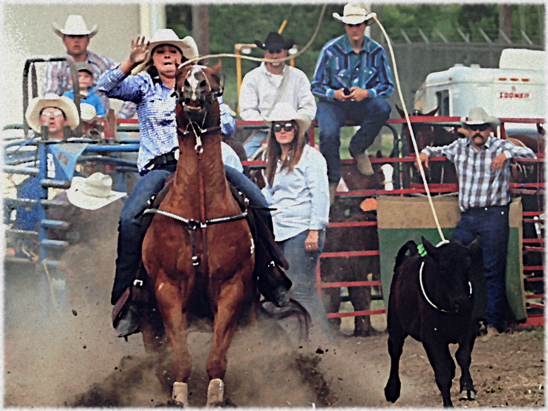 Cowgirls Breakaway Roping At The Ellicottville Rodeo
