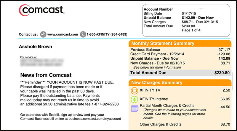 Comcast called my husband an a**hole - and they put it in writing