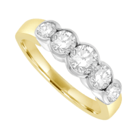18ct Gold 5-stone Rubover Eternity Ring