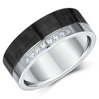Black Carbon Fiber & Titanium Wedding Ring 8mm - Carbon ...