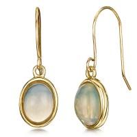 9ct Yellow Gold Opal Drop Earrings - 9ct Gold Earrings at ...