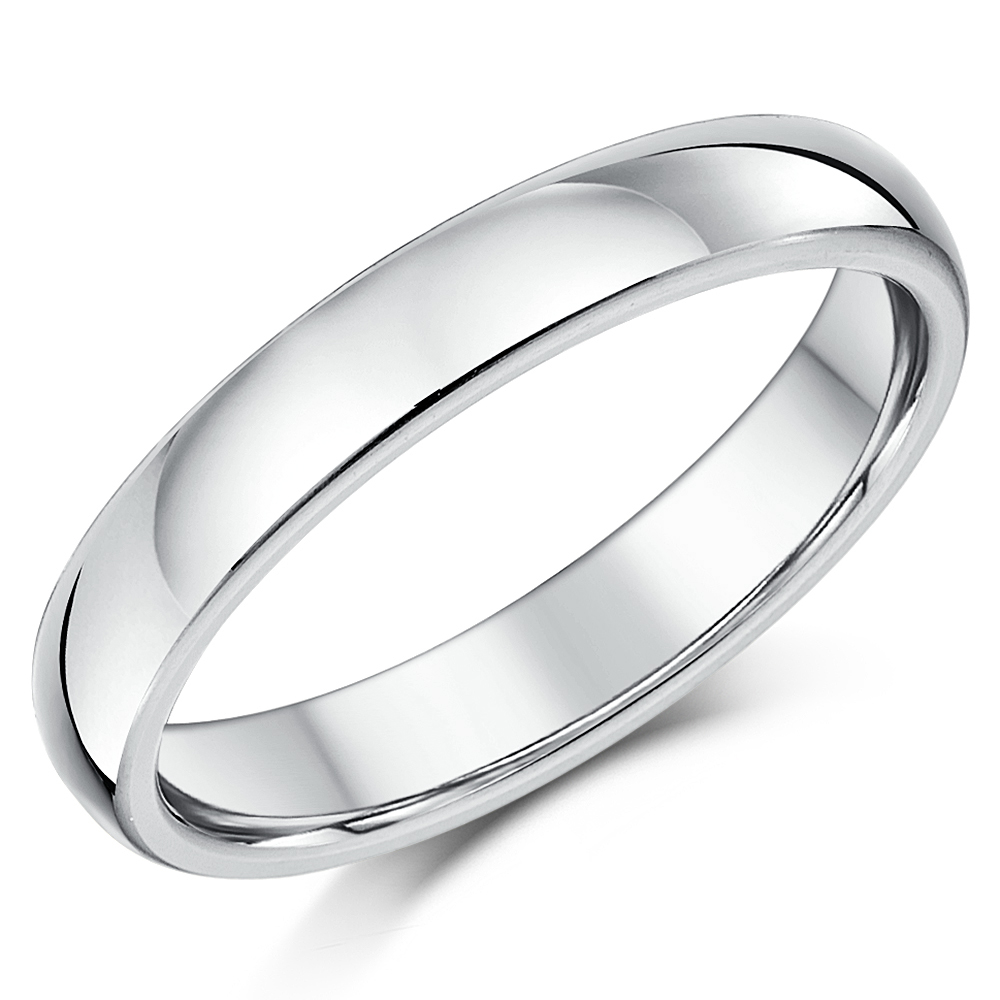 sterling silver c silver wedding rings 4mm Silver Super Heavy Weight Court Shape Wedding Ring