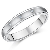 4mm Diamond Titanium 3 Stone Wedding Ring - Titanium Rings ...