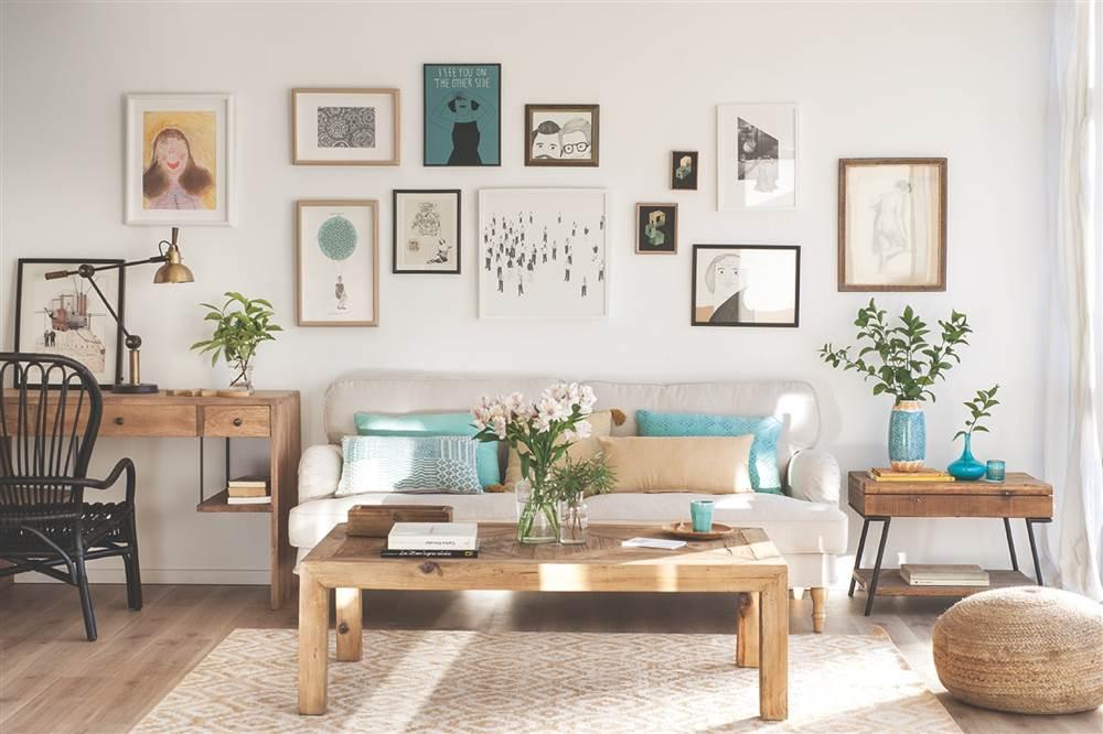 Mesa blanca, sillas negras Scandi living room, Living rooms and Salons - decoracion de paredes