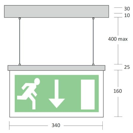 Mizzen - Wire Suspended LED Exit Sign - Emergency Lighting Products Ltd