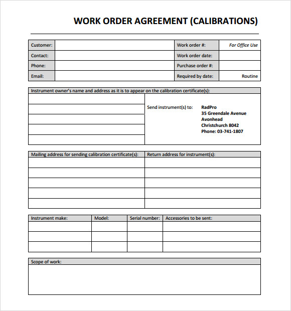 work order form template word - Militarybralicious - order forms templates free word