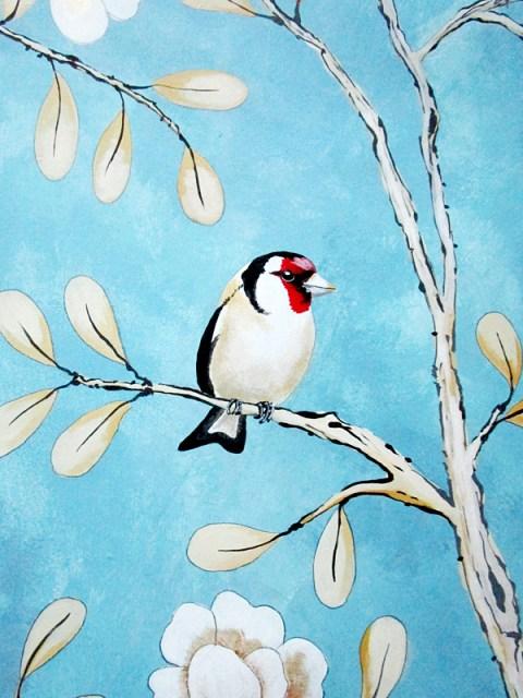 muurschildering met vogeltjes