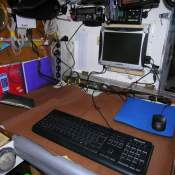 The chart table was on the starboard side. Here it's set up for writing my daily bit for the website logbook.