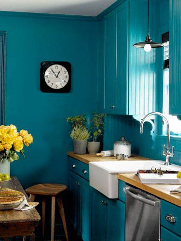 turquoise painted kitchen