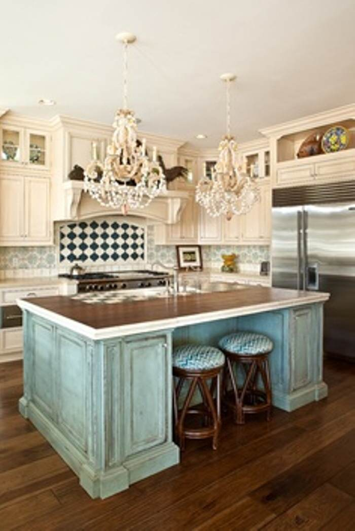antique white paint kitchen and green water