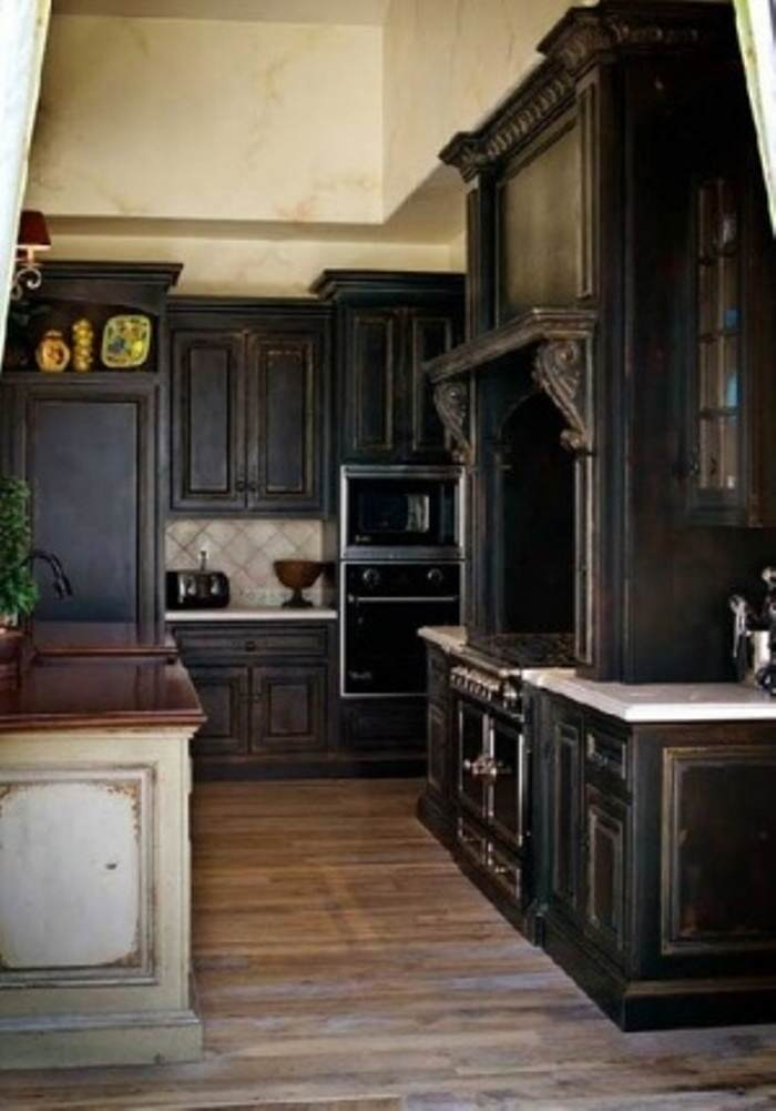 painted black kitchen