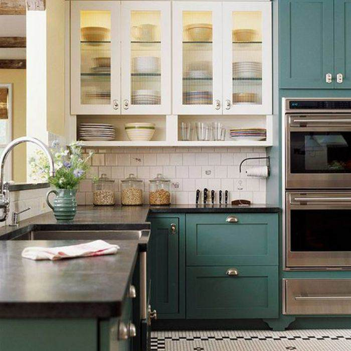 teal paint kitchen