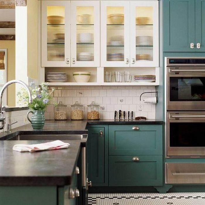 teal paint kitchen