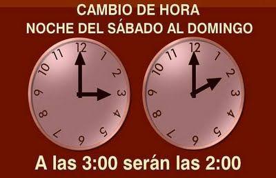 El cambio de hora será en la madrugada del proximo domingo