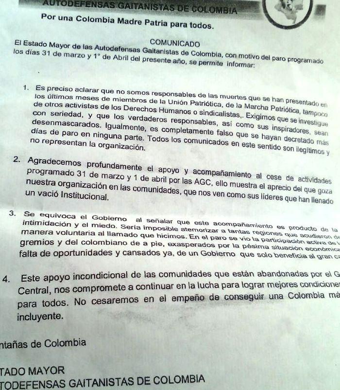 En San Onofre, a través de panfleto agradecen por \u201crespaldo\u201d a \u201cparo