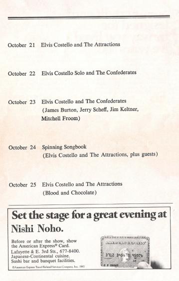 1986-10-21 New York concert program - The Elvis Costello Wiki