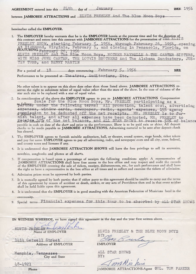 1956 Business Contract Signed by Colonel Parker and Elvis for The - business contract