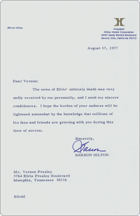 August 17, 1977 - condolence letter to Vernon Presley from hotel - condolence letter