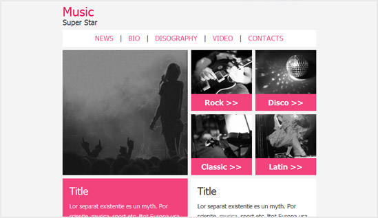 Music email newsletter templates Email newsletter templates collection