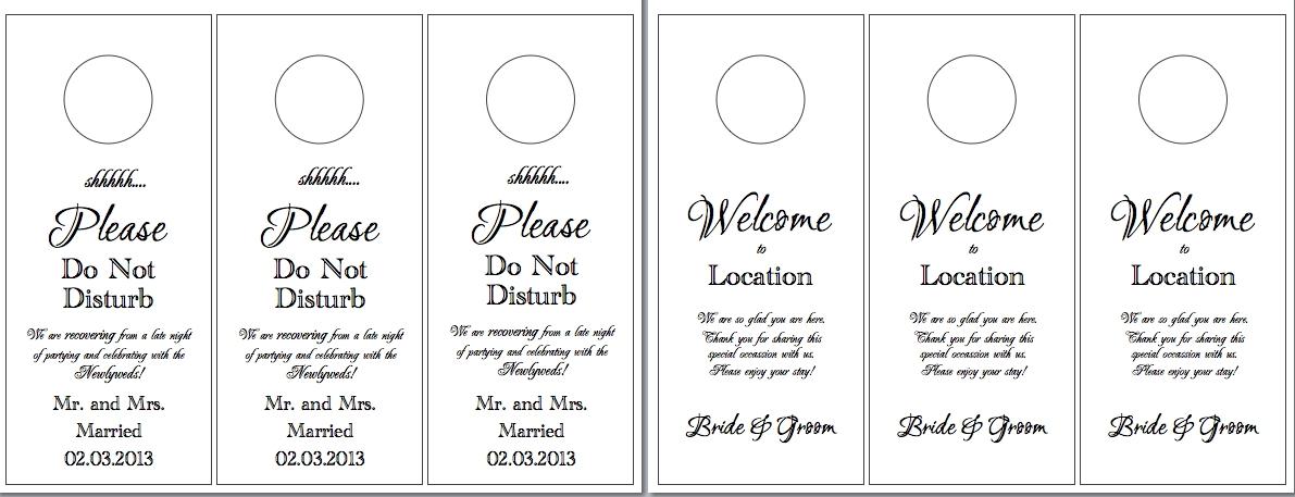 Wedding Door Hangers Template