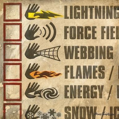 Superhero Hand Powers Checklist Wall Art