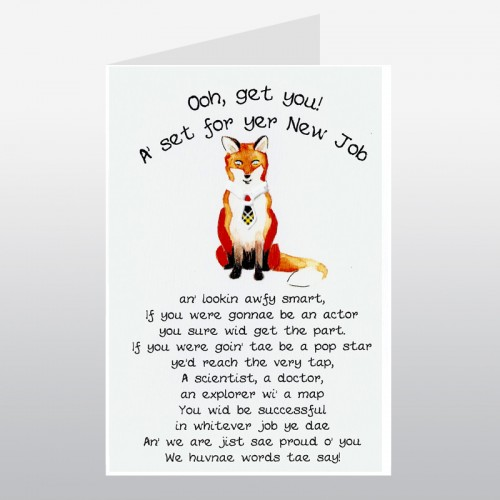 Scottish New Job Card Fox Scottish Birthday Cards