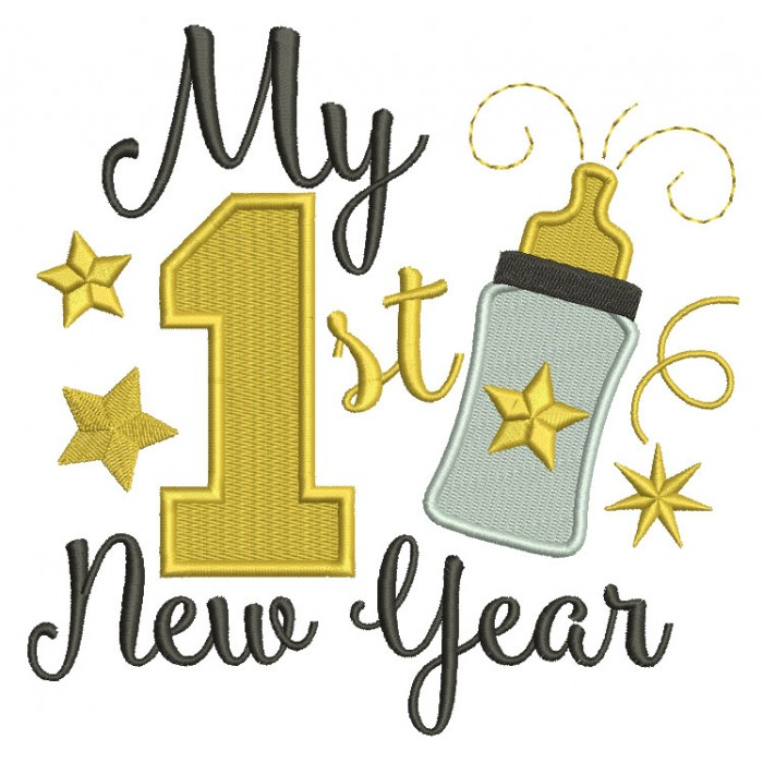 My First New Year Baby Bottle Filled Machine Embroidery Design