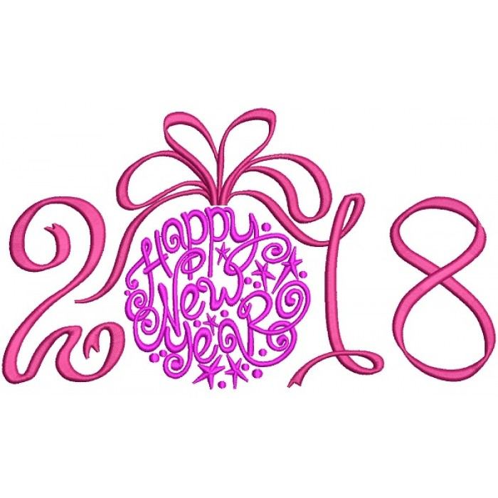 Ornate Happy New Year 2018 Filled Machine Embroidery Design