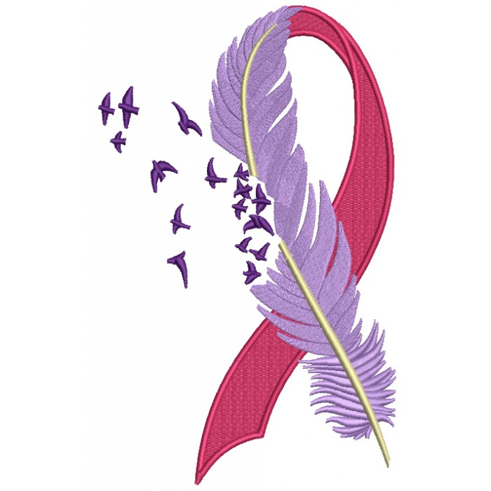 Breast Cancer Awareness Ribbon With A Feather Filled Machine