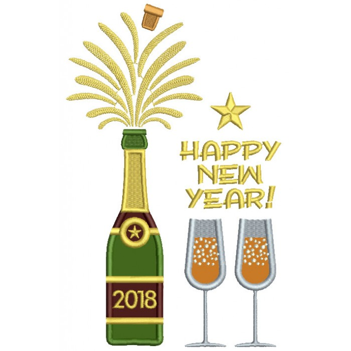Happy New Year Bottle Of Champagne Applique Machine Embroidery