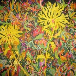 "Spring, Ed McCartan, acrylic on canvas, 42x42"""