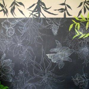 """Secret Garden, Ed McCartan, acrylic and pencil, 42x42"""""""
