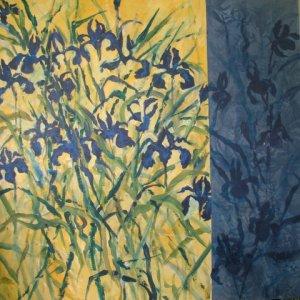 "Blue Flags, Ed McCartan, acrylic, 42x42"""