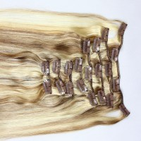 P-color double drawn remy hair clip in hair extensions ...