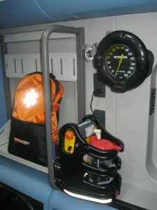 An ambulance equipped with the new Spencer AmbuJet suction unit. A strong 10G fixation system ensure safety for rescuers