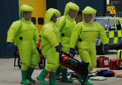 Members of the Welsh Ambulance Service's HART team on a training exercise.
