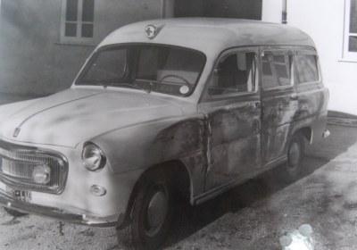 Foto 05: la Fiat 1100/103 I di Fissore, entrata in servizio il 21 Settembre 1958; purtroppo l'unica foto rintracciata la ritrae dopo un incidente accaduto sulla Via per Arni- foto ASCVP