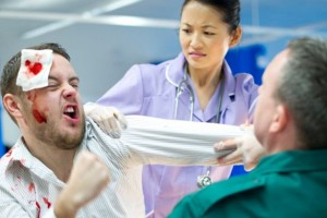 Aggressive-patient-in-AE-attacking-nurse-and-paramedic-at-hospital