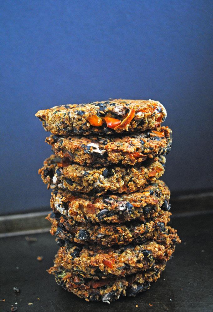 Black Bean Quinoa Veggie Burgers (vegan + gluten-free)