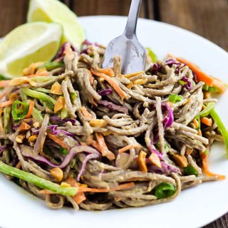 A healthy 15-minute meal, these Spicy Vegetable Peanut Soba Noodles are full of fresh vegetables and tossed in a light (and flavorful!) peanut sauce!