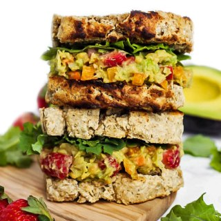 You'll look forward to lunch when you bring a Strawberry Avocado Chickpea Salad Sandwich! There's lots of fresh vegetables & protein for a healthy lunch.