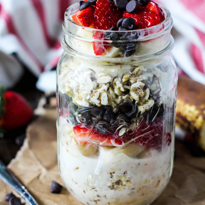 Overnight Banana Split Oatmeal